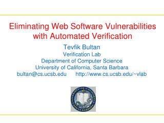 Eliminating Web Software Vulnerabilities with Automated Verification