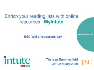 Enrich your reading lists with online resources : MyIntute