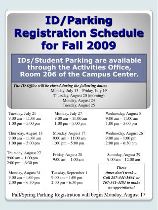 ID/Parking Registration Schedule for Fall 2009