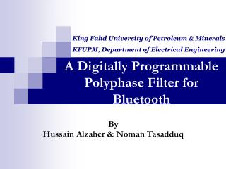 A Digitally Programmable Polyphase Filter for Bluetooth