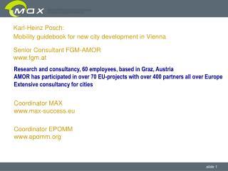 Karl-Heinz Posch: Mobility guidebook for new city development in Vienna