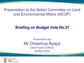 Briefing on Budget Vote No.37