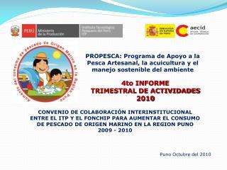 4to INFORME TRIMESTRAL DE ACTIVIDADES 2010