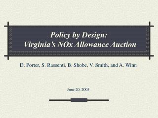Policy by Design:  Virginia's NOx Allowance Auction