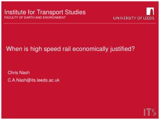 When is high speed rail economically justified?