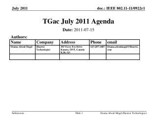 TGac July 2011 Agenda