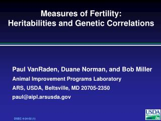 Measures of Fertility: Heritabilities and Genetic Correlations