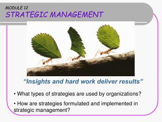MODULE 12 STRATEGIC MANAGEMENT