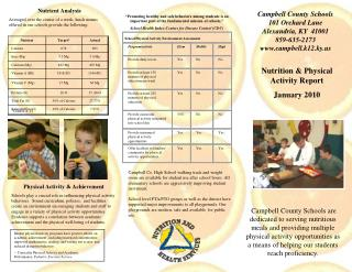 Nutrition & Physical Activity Report January 2010