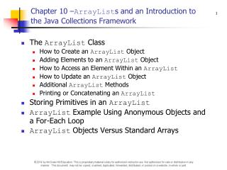 Chapter 10 – ArrayList s and an Introduction to the Java Collections Framework