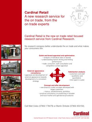 Cardinal Retail A new research service for the on trade, from the  on trade experts