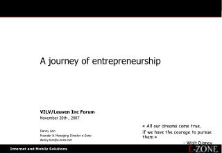 A journey of entrepreneurship