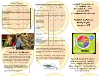 Nutrition & Physical Activity Report January 2013