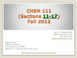 CHEM 111  (Sections  11-17 ) Fall 2012