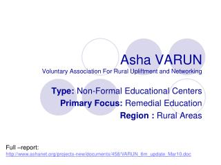 Asha VARUN Voluntary Association For Rural Upliftment and Networking