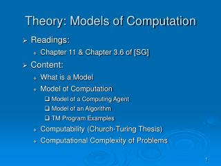 Theory: Models of Computation