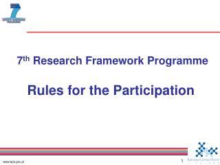 7 th  Research Framework Programme