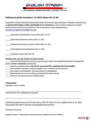 Halloween-juhlat torstaina 1.11.2012 alkaen klo 17.30