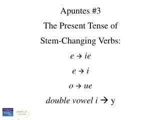 Apuntes #3 The Present Tense of  Stem-Changing Verbs:   e  ie e  i o  ue double vowel i   y