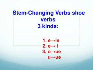 Stem-Changing  Verbs shoe verbs 3 kinds: