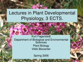 Kurt Fagerstedt Department of Biological and Environmental Sciences Plant Biology Viikki Biocenter