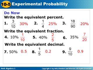 Do Now Write the equivalent percent. 1.                     2.  3.