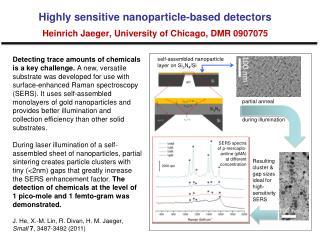 Highly sensitive nanoparticle-based detectors Heinrich Jaeger, University of Chicago, DMR 0907075
