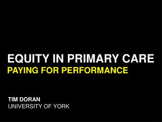 TIM DORAN UNIVERSITY OF YORK
