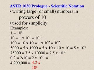 ASTR 1030 Prologue - Scientific Notation
