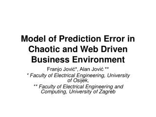 Model of Prediction Error in Chaotic and Web Driven Business Environment