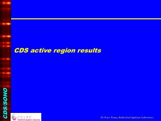 CDS active region results