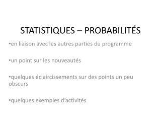 STATISTIQUES  – PROBABILITÉS