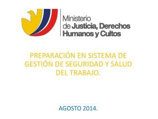 PREPARACIÓN EN SISTEMA DE GESTIÓN DE SEGURIDAD Y SALUD DEL TRABAJO. AGOSTO 2014.
