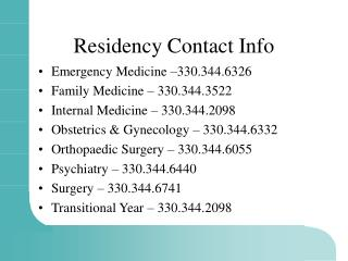 Residency Contact Info