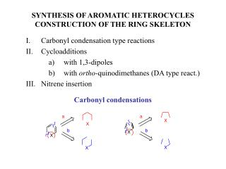 SYNTHESIS OF AROMATIC HETEROCYCLES CONSTRUCTION OF THE RING SKELETON