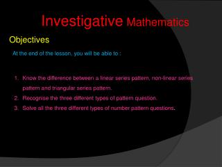 Investigative  Mathematics