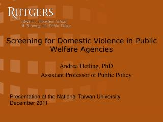Screening for Domestic Violence in Public Welfare Agencies