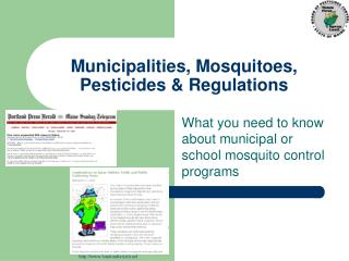 Municipalities, Mosquitoes, Pesticides & Regulations