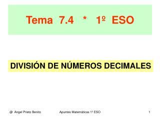 Tema  7.4   *   1º  ESO