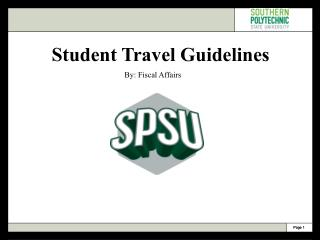 Student Travel Guidelines