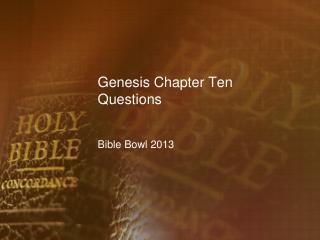 Genesis Chapter Ten Questions
