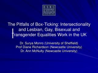Dr. Surya Monro (University of Sheffield) Prof Diane Richardson (Newcastle University)