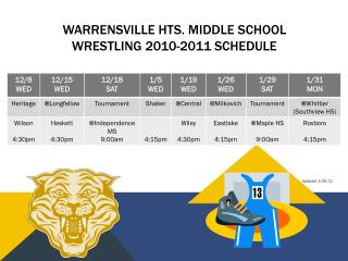 Warrensville  h ts.  Middle school  wrestling 2010-2011 schedule