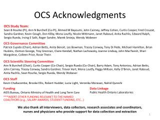 OCS Acknowledgments