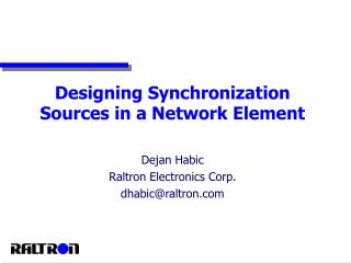 Designing Synchronization Sources in a Network Element