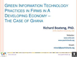 Green Information Technology Practices in Firms in A Developing Economy –  The Case of Ghana