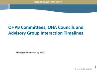 OHPB Committees, OHA Councils and Advisory Group Interaction Timelines
