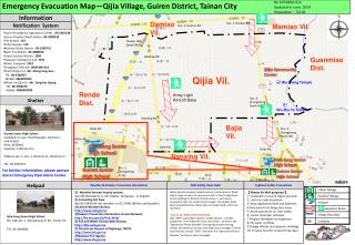 Emergency Evacuation Map—Qijia Village, Guiren District, Tainan City