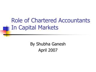 Role of Chartered Accountants In Capital Markets
