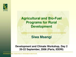 Agricultural and Bio-Fuel Programs for Rural Development  Siwa Msangi